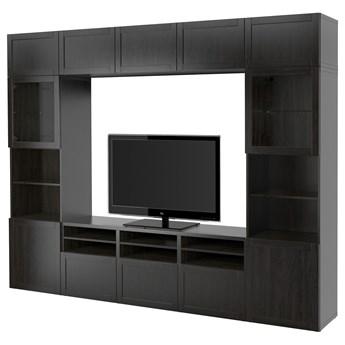 IKEA BESTÅ Kombinacja na TV/szklane drzwi, Czarnybrąz/Hanviken czarnobrązowe szkło przezroczyste, 300x42x231 cm