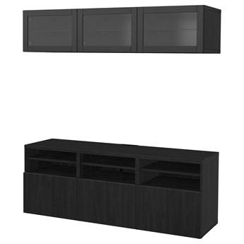 IKEA BESTÅ Kombinacja na TV/szklane drzwi, Czarnybrąz/Lappviken czarnobrązowe szkło przezroczyste, 180x42x192 cm