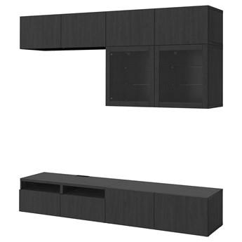 IKEA BESTÅ Kombinacja na TV/szklane drzwi, Czarnybrąz/Lappviken czarnobrązowe szkło przezroczyste, 240x42x231 cm
