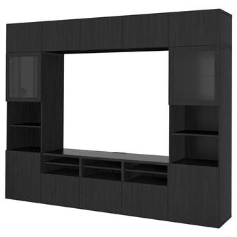 IKEA BESTÅ Kombinacja na TV/szklane drzwi, Czarnybrąz/Lappviken czarnobrązowe szkło przezroczyste, 300x42x231 cm