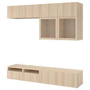 IKEA BESTÅ Kombinacja na TV/szklane drzwi, Dąb bejcowany na biało/Lappviken dąb bejcowany biało szk bezbarwne, 240x42x231 cm