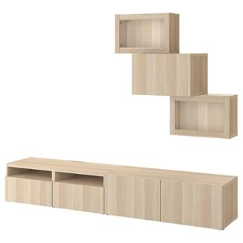 IKEA BESTÅ Kombinacja na TV/szklane drzwi, Dąb bejcowany na biało/Lappviken dąb bejcowany biało szk bezbarwne, 240x42x190 cm