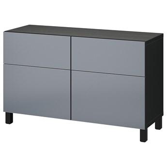 IKEA BESTÅ Kombinacja regałowa z drzw/szuf, Czarnybrąz/Riksviken/Stubbarp efekt szczotkowanej ciemnej cyny, 120x42x74 cm