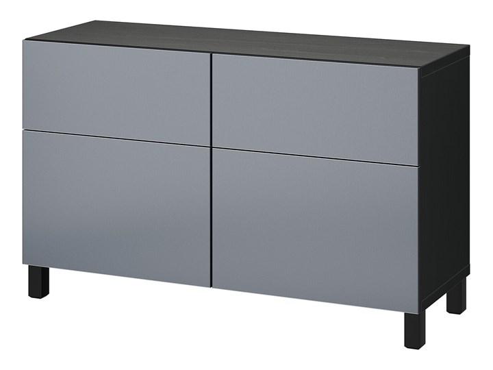 IKEA BESTÅ Kombinacja regałowa z drzw/szuf, Czarnybrąz/Riksviken/Stubbarp efekt szczotkowanej ciemne ...