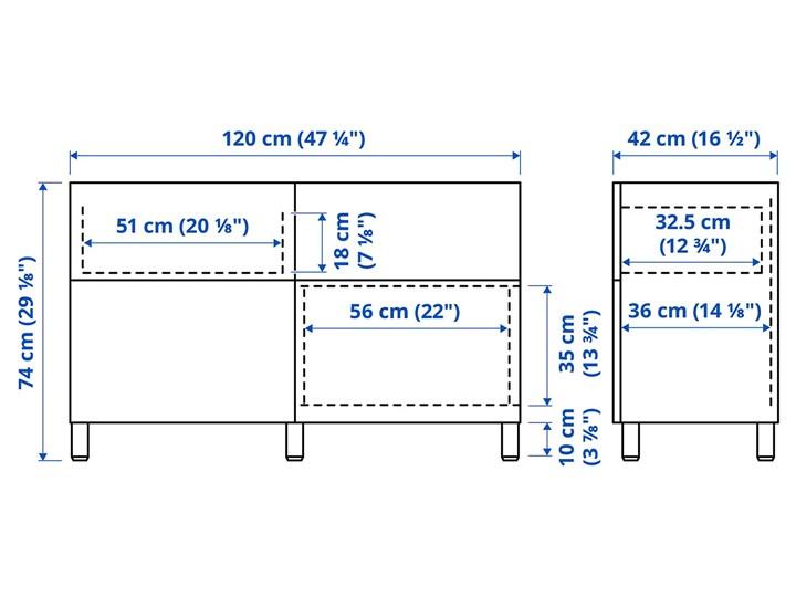 IKEA BESTÅ Kombinacja regałowa z drzw/szuf, Czarnybrąz/Riksviken/Stubbarp efekt szczotkowanej ciemnej cyny, 120x42x74 cm Głębokość 42 cm Płyta MDF Szerokość 120 cm Kategoria Komody