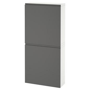 IKEA BESTÅ Szafka śc/2 drzwi, Biały/Västerviken ciemnoszary, 60x22x128 cm
