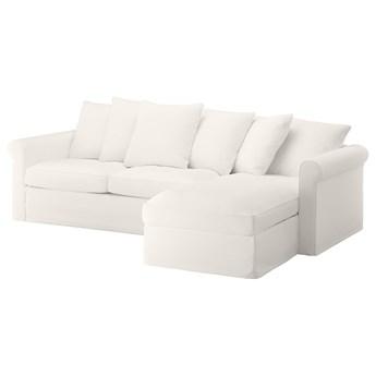 IKEA GRÖNLID Sofa 3-osobowa z szezlongiem, Inseros biały, Wysokość łóżka: 53 cm