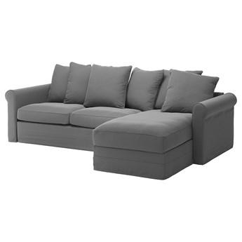 IKEA GRÖNLID Sofa 3-osobowa z szezlongiem, Ljungen średnioszary, Wysokość łóżka: 53 cm