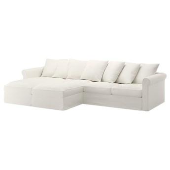 IKEA GRÖNLID Sofa 4 osobowa z szezlongiem, Inseros biały, Wysokość z poduchami oparcia: 104 cm