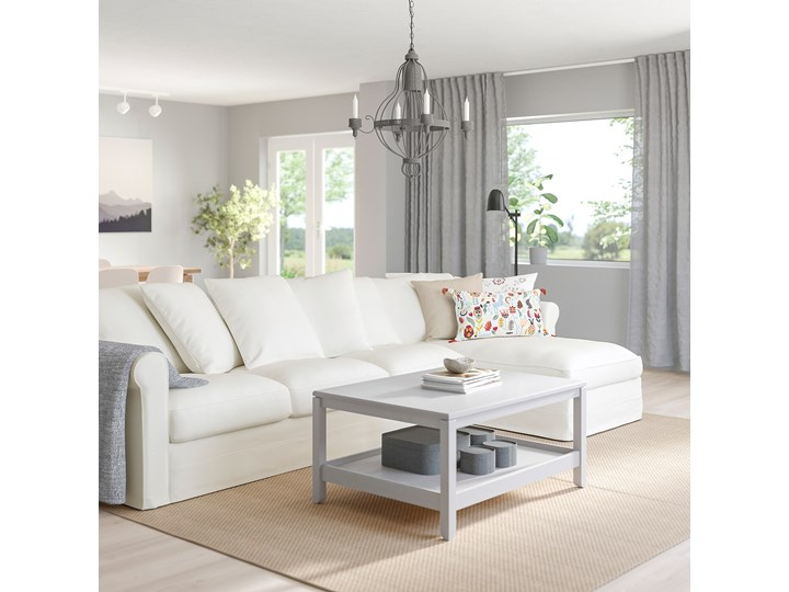 IKEA GRÖNLID Sofa 4-osobowa z szezlongiem, Inseros biały, Wysokość z poduchami oparcia: 104 cm Liczba miejsc Czteroosobowy