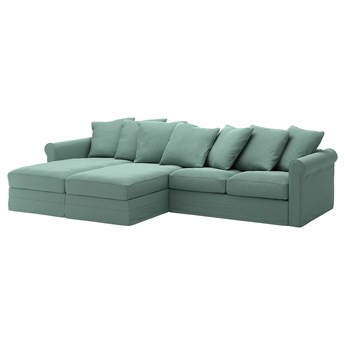IKEA GRÖNLID Sofa 4 osobowa z szezlongiem, Ljungen jasnozielony, Wysokość z poduchami oparcia: 104 cm