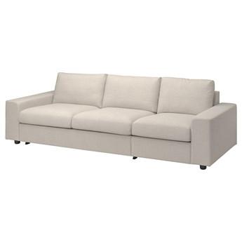 IKEA VIMLE Rozkładana sofa 3-osobowa, z szerokimi podłokietnikami/Gunnared beżowy, Wysokość łóżka: 53 cm