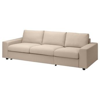 IKEA VIMLE Rozkładana sofa 3-osobowa, z szerokimi podłokietnikami/Hallarp beżowy, Wysokość łóżka: 53 cm