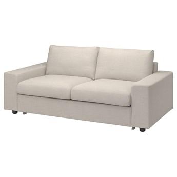 IKEA VIMLE Sofa 2-osobowa rozkładana, z szerokimi podłokietnikami/Gunnared beżowy, Wysokość łóżka: 53 cm