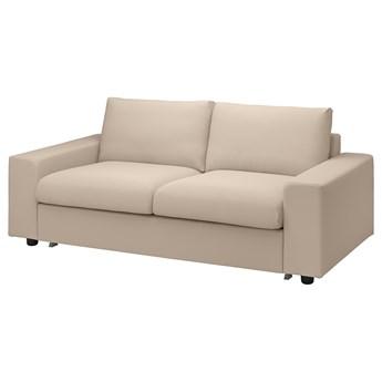 IKEA VIMLE Sofa 2-osobowa rozkładana, z szerokimi podłokietnikami/Hallarp beżowy, Wysokość łóżka: 53 cm