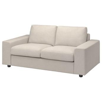 IKEA VIMLE Sofa 2-osobowa, z szerokimi podłokietnikami/Gunnared beżowy, Wysokość z poduchami oparcia: 83 cm