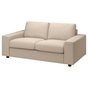 IKEA VIMLE Sofa 2-osobowa, z szerokimi podłokietnikami/Hallarp beżowy, Wysokość z poduchami oparcia: 83 cm
