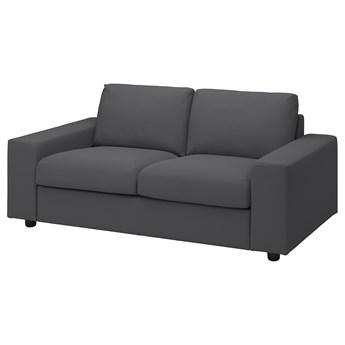 IKEA VIMLE Sofa 2-osobowa, z szerokimi podłokietnikami/Hallarp szary, Wysokość z poduchami oparcia: 83 cm