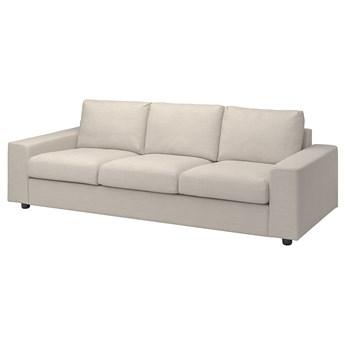 IKEA VIMLE Sofa 3-osobowa, z szerokimi podłokietnikami/Gunnared beżowy, Wysokość z poduchami oparcia: 83 cm