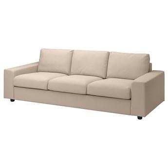IKEA VIMLE Sofa 3-osobowa, z szerokimi podłokietnikami/Hallarp beżowy, Wysokość z poduchami oparcia: 83 cm