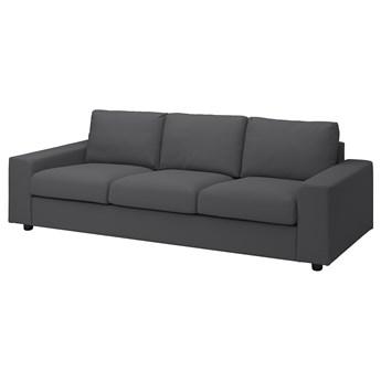IKEA VIMLE Sofa 3-osobowa, z szerokimi podłokietnikami/Hallarp szary, Wysokość z poduchami oparcia: 83 cm
