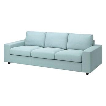 IKEA VIMLE Sofa 3-osobowa, z szerokimi podłokietnikami/Saxemara jasnoniebieski, Wysokość z poduchami oparcia: 83 cm