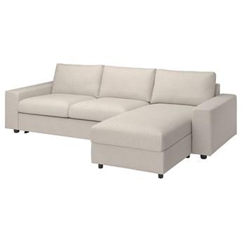 IKEA VIMLE Sofa 3-osobowa z szezlongiem, z szerokimi podłokietnikami/Gunnared beżowy, Wysokość łóżka: 53 cm