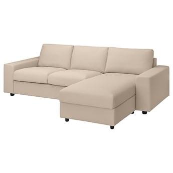 IKEA VIMLE Sofa 3-osobowa z szezlongiem, z szerokimi podłokietnikami/Hallarp beżowy, Wysokość z poduchami oparcia: 83 cm