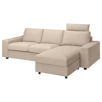 IKEA VIMLE Sofa 3-osobowa z szezlongiem, z szerokimi podłokietnikami z zagłówkiem/Hallarp beżowy, Wysokość z zagłówkiem: 103 cm