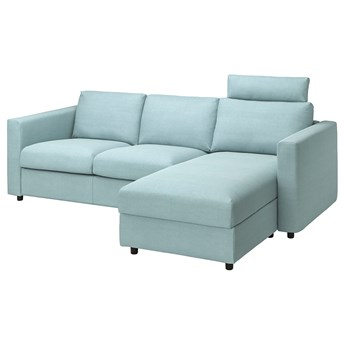 IKEA VIMLE Sofa 3-osobowa z szezlongiem, z zagłówkiem Saxemara/jasnoniebieski, Wysokość z zagłówkiem: 103 cm