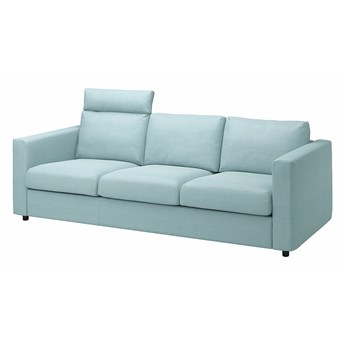 IKEA VIMLE Sofa 3-osobowa, z zagłówkiem/Saxemara jasnoniebieski, Wysokość z zagłówkiem: 103 cm