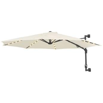 vidaXL Parasol ścienny z LED, na metalowym słupku, 300 cm, piaskowy