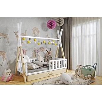 Łóżeczko dziecięce WIGWAM TIPI z pojemnikiem : Dodatki - Materac piankowy, Powierzchnia spania łóżka - 80x180cm, Wybierz kolor - biały + sosna