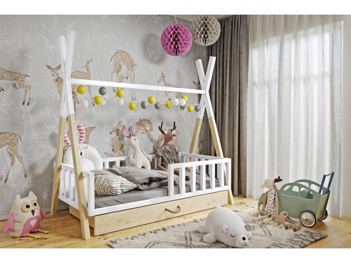 Łóżeczko dziecięce WIGWAM TIPI z pojemnikiem : Dodatki - Materac piankowy, Powierzchnia spania łóżka - 80x160cm, Wybierz kolor - biały + sosna Drewno Kategoria Łóżka dla dzieci