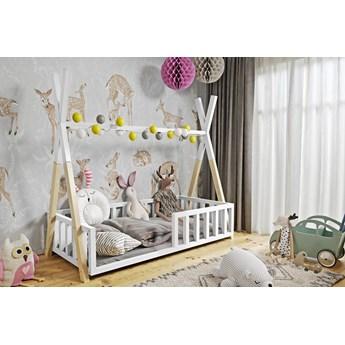 Łóżeczko dziecięce WIGWAM TIPI : Dodatki - ---, Powierzchnia spania łóżka - 80x160cm, Wybierz kolor - biały + sosna