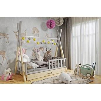 Łóżeczko dziecięce WIGWAM TIPI z pojemnikiem : Dodatki - ---, Powierzchnia spania łóżka - 80x180cm, Wybierz kolor - szary + sosna