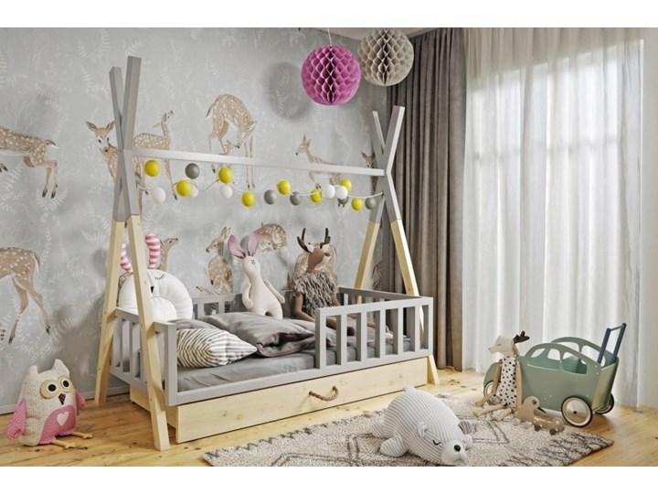 Łóżeczko dziecięce WIGWAM TIPI z pojemnikiem : Dodatki - ---, Powierzchnia spania łóżka - 80x180cm, Wybierz kolor - szary + sosna Drewno Kategoria Łóżka dla dzieci Kolor Beżowy