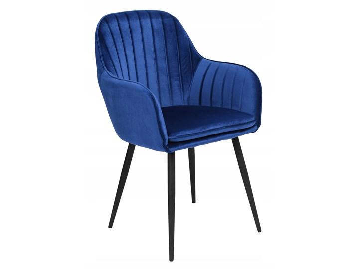 Krzesło welurowe SEVILLA VELVET granatowe Tkanina Kolor Szary