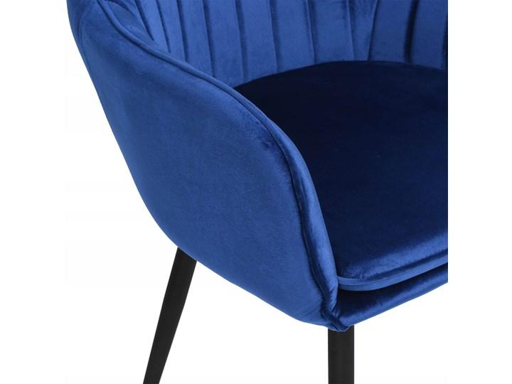 Krzesło welurowe SEVILLA VELVET granatowe Kolor Granatowy Tkanina Kolor Szary
