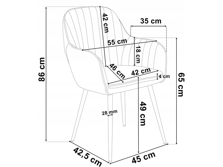Krzesło welurowe SEVILLA VELVET granatowe Kolor Szary Tkanina Kolor Granatowy