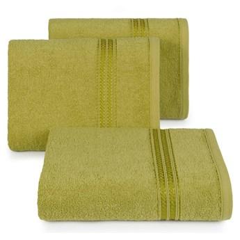 Ręcznik kąpielowy oliwkowy 70x140 frotte 450g/m2 elegancki, lśniąca bordiura, Lori