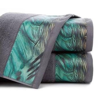 Ręcznik Eva Minge Collin stalowy w rozmiarze 70x140 z drukowaną bordiurą