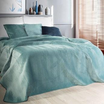 Narzuta welwet na łóżko miętowa 220x240, pikowana, jodełka pasy