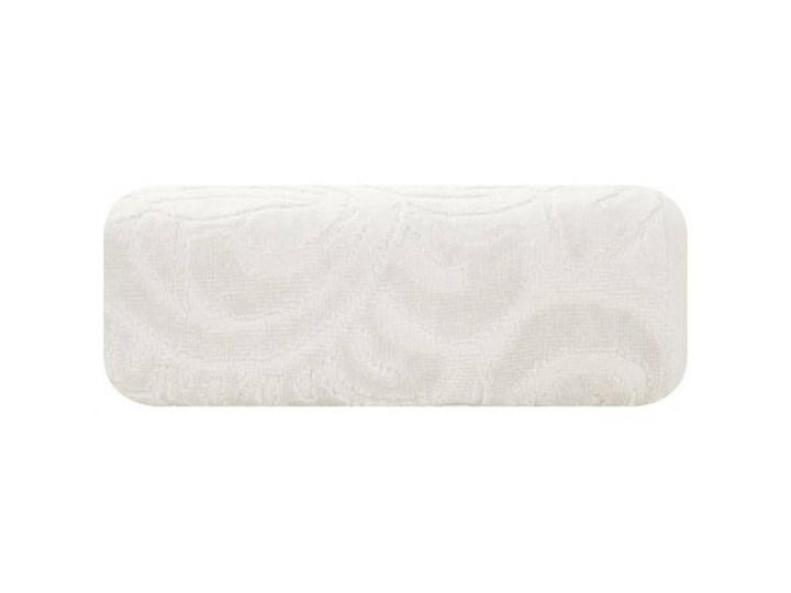 Welurowy ręcznik kąpielowy 50x90 kremowy 390 g/m2 elegancki zdobiony na całej powierzchni żakardowym wzorem kwiatowym Frotte 50x90 cm Bawełna Kolor Beżowy