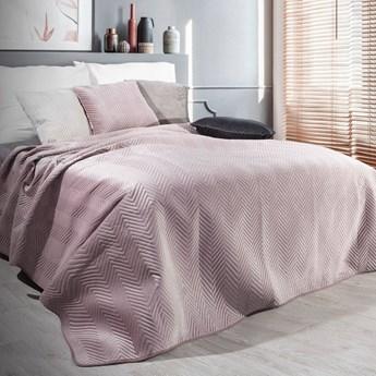 Narzuta welwet na łóżko pudrowa 220x240, pikowana, jodełka pasy