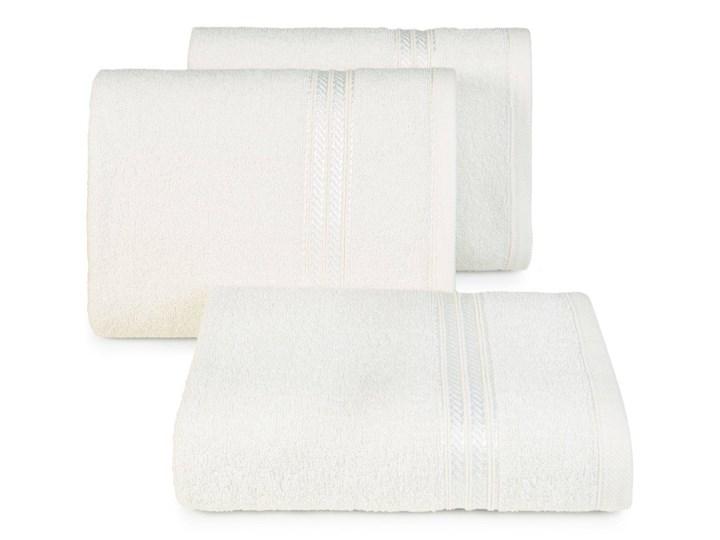 Ręcznik kąpielowy kremowy 50x90 frotte 450g/m2 elegancki, lśniąca bordiura, Lori 50x90 cm Kolor Beżowy Bawełna Kategoria Ręczniki
