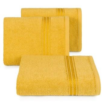 Ręcznik kąpielowy musztardowy 50x90 frotte 450g/m2 elegancki, lśniąca bordiura, Lori