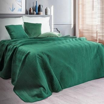 Narzuta welwet na łóżko zielona 220x240, pikowana, jodełka pasy