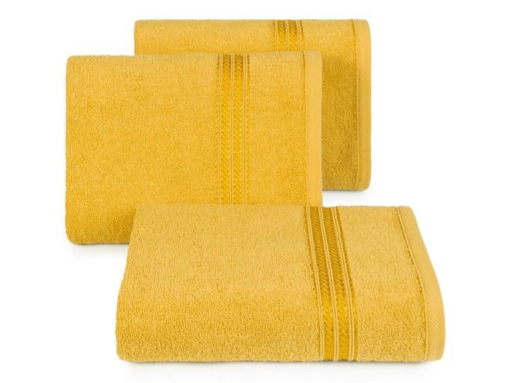 Ręcznik kąpielowy musztardowy 70x140 frotte 450g/m2 elegancki, lśniąca bordiura, Lori 70x140 cm Bawełna Kategoria Ręczniki