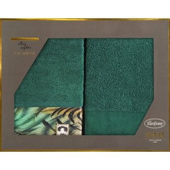 Komplet ręczników Eva Minge Collin w rozmiarze 50x90 z drukowaną bordiurą w eleganckim opakowaniu kolor ciemny zielony